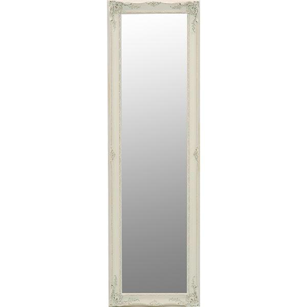 【送料無料】アンティーク調ミラー/全身姿見鏡 〔立てかけタイプ〕 高さ165cm 木製フレーム ホワイト(白) 【代引不可】