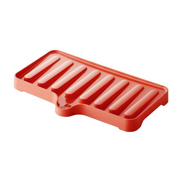 〔50セット〕 ドレーナー/水切り器具 〔スリム レッド〕 38.4×23.6×3.5cm 本体:PP 『リベラリスタ』【代引不可】