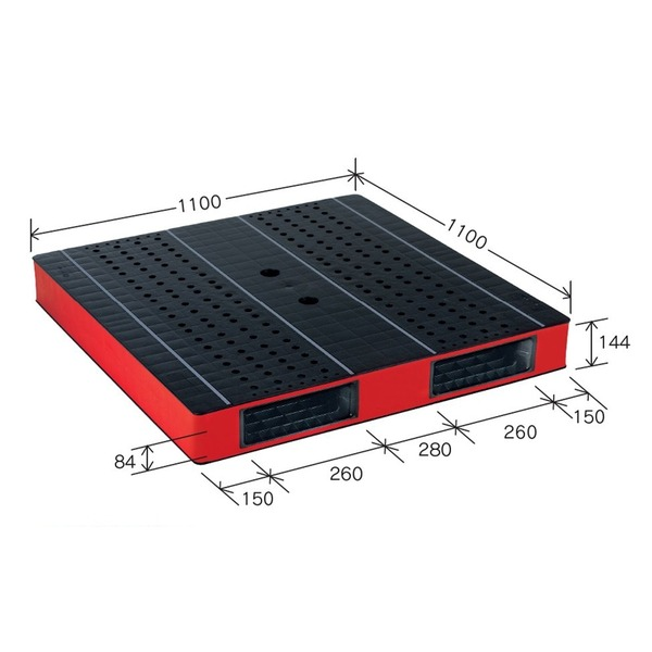 【送料無料】カラープラスチックパレット/物流資材 〔1100×1100mm ブラック/レッド〕 両面使用 HB-R2・1111SC 自動倉庫対応 岐阜プラスチック工業【代引不可】