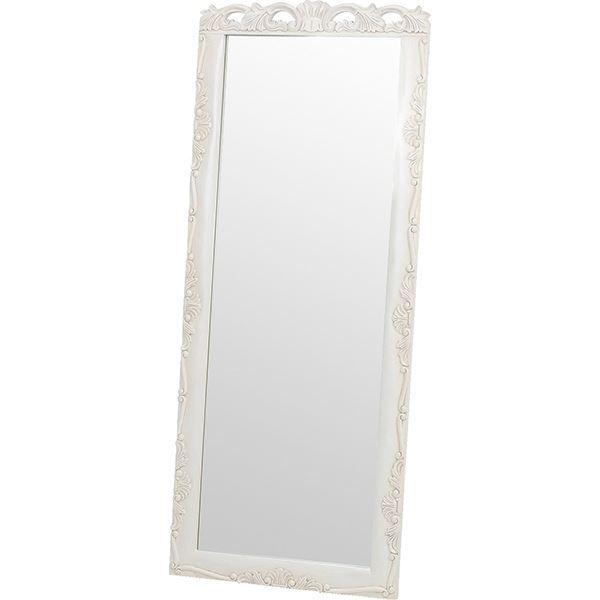 【送料無料】スタンドミラー/全身姿見鏡 高さ170cm 木製 アンティークホワイト 『ヴィオレッタシリーズ』 【代引不可】