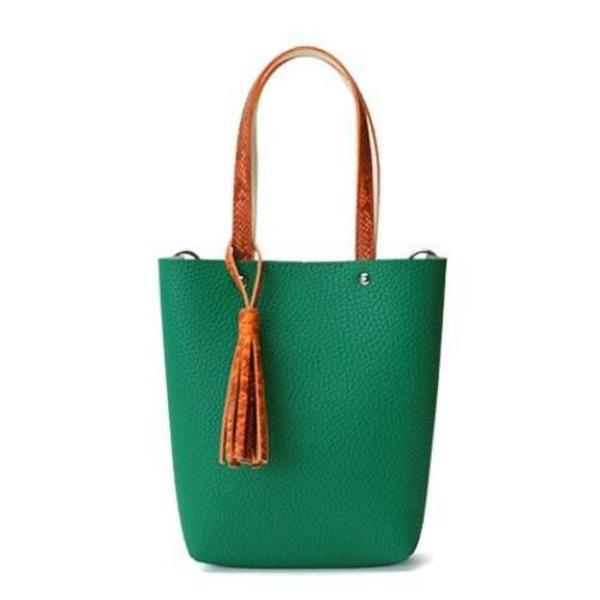 カラフル5色♪柔らか素材のツートン2Wayハンドバッグ/グリーン【代引不可】
