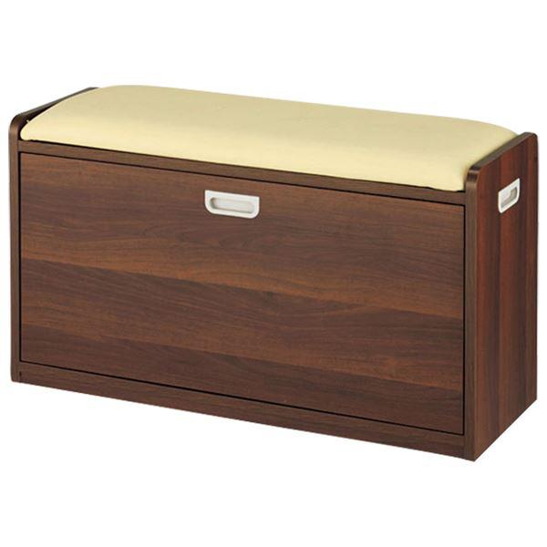 腰掛け付きシューズボックス/スツール 〔3: Lサイズ〕 木製/合成皮革【代引不可】