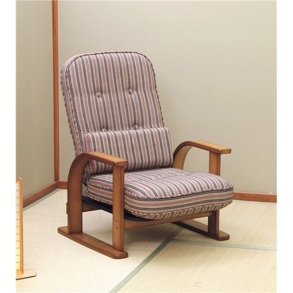 【送料無料】高座椅子/パーソナルチェア 〔1人掛け〕 リクライニング式 クッション付 張地:綿100% 木製 日本製 『中居木工』 〔完成品〕【代引不可】