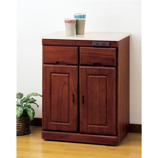 【送料無料】天然木人工大理石天板キッチンカウンター2枚扉 ブラウン【代引不可】