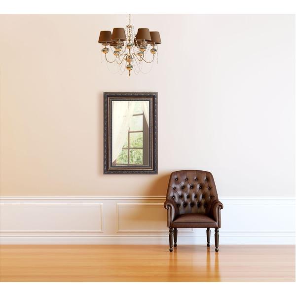 【送料無料】アンティーク調 ウォールミラー/姿見鏡 〔幅55cm×奥行4.5cm×高さ75cm〕 飛散防止加工 吊り紐 金具付き 日本製【代引不可】