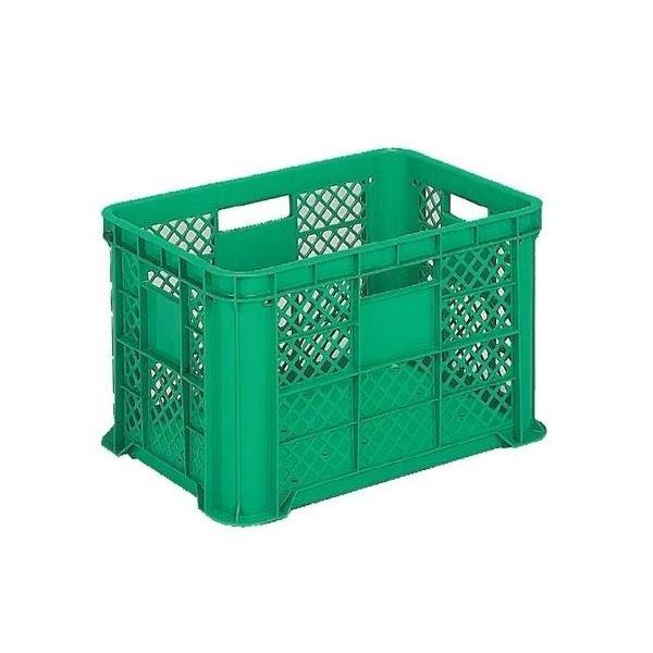 〔6個セット〕 リステナー/網目コンテナボックス 〔MB-58〕 グリーン メッシュ構造 〔みかん 果物 野菜等収穫 保管 保存 物流〕【代引不可】