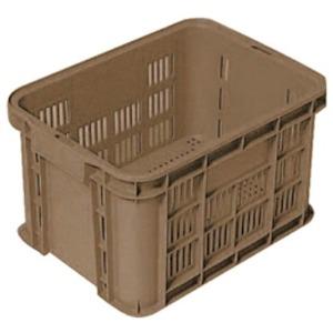 〔5個セット〕 リステナー/網目コンテナボックス 〔GB-13〕 ブラウン メッシュ構造 〔みかん 果物 野菜等収穫 保管 保存 物流〕【代引不可】
