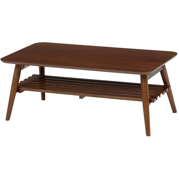 折れ脚テーブル(ローテーブル/折りたたみテーブル) 長方形 幅90cm 木製 収納棚付き ブラウン【代引不可】