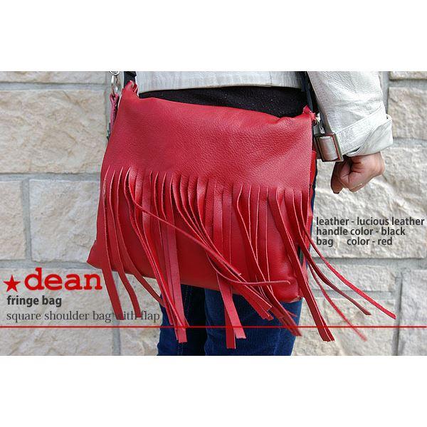 ★dean(ディーン) fringe bag ショルダーバッグ 斜めがけバッグ 赤【代引不可】