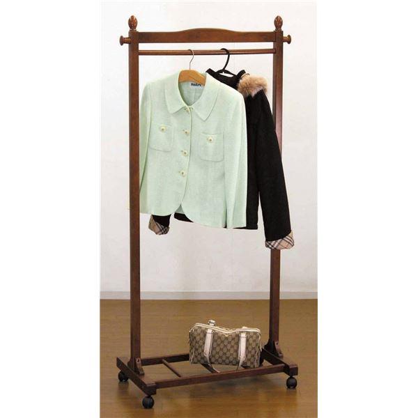 ハンガーラック(衣類収納) 木製 幅75cm 収納棚/キャスター付き BR ブラウン【代引不可】