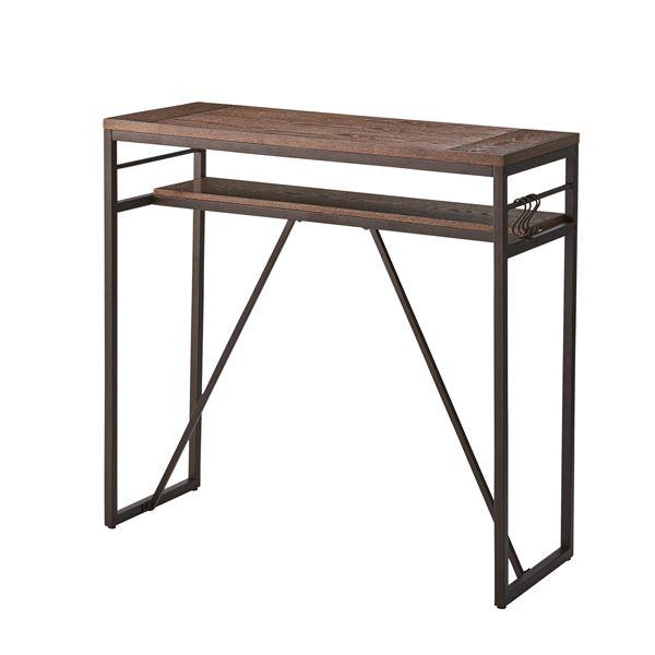 ビンテージ風カウンターテーブル/ハイテーブル 〔幅105cm〕 スチール×天然木 ブラック PT-782BK【代引不可】