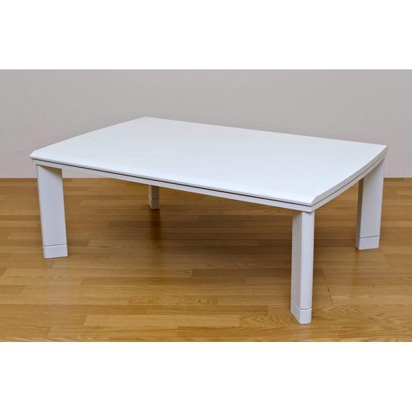 【送料無料】継ぎ足式モダンこたつテーブル 本体 〔長方形/120cm×80cm〕 ホワイト(白) 木製 本体 高さ調節可 テーパー加工【代引不可】