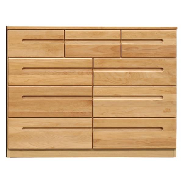【送料無料】ローチェスト/リビングチェスト 〔4段/幅120cm〕 木製 日本製 ナチュラル 〔HUMMING〕ハミング 〔完成品〕【代引不可】