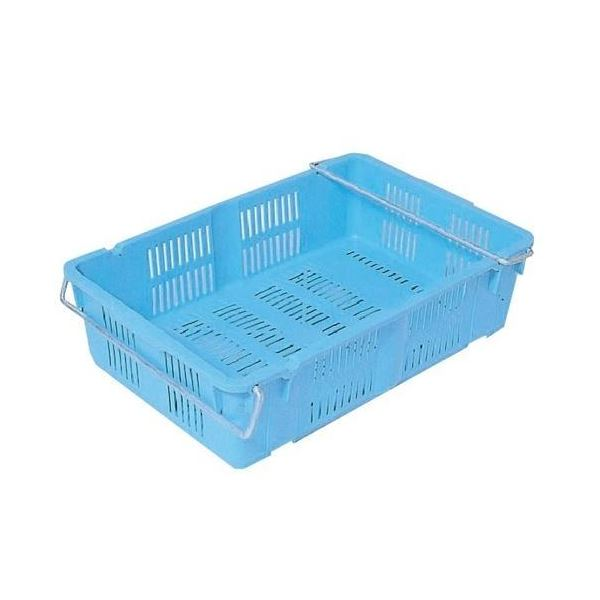 〔10個セット〕プラスケット/網目ボックス 〔No.400 金具付き〕 ブルー スタッキング金具使用時:段積み可【代引不可】