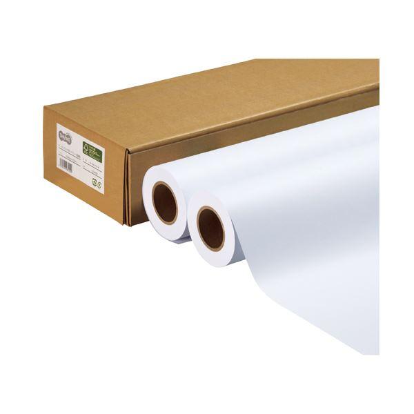 (まとめ) TANOSEE ハイグレード普通紙 24インチロール 610mm×50m 1箱(2本) 〔×2セット〕【代引不可】