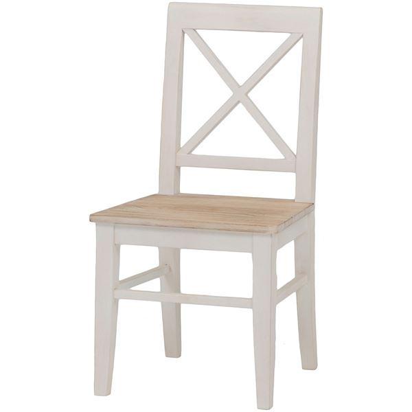 【送料無料】ダイニングチェア/リビングチェア 木製 座面:桐材 アンティーク調 ホワイト(白) 【代引不可】