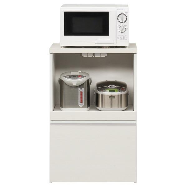【送料無料】キッチンカウンター 幅60cm 二口コンセント/スライドテーブル/引き出し付き 日本製 ホワイト(白) 〔完成品〕【代引不可】