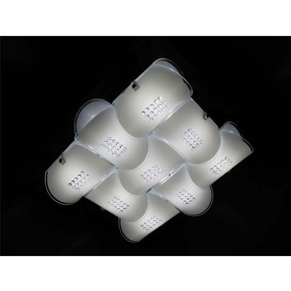 【送料無料】シーリングライト(照明器具) LEDタイプ/3700ルーメン 自然光色 幾何学模様風 ガラス使用 〔リビング照明/ダイニング照明〕〔電球付き〕【代引不可】