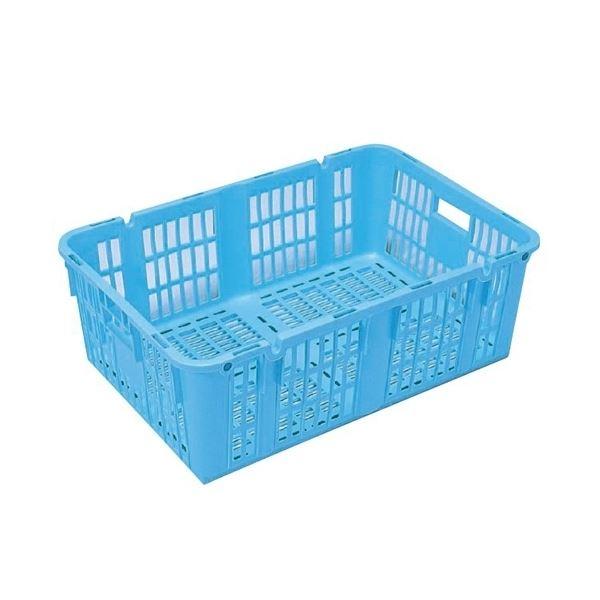 〔5個セット〕プラスケット/網目ボックス 〔No.950 金具なし〕 ブルー スタッキング金具使用時:段積み可【代引不可】