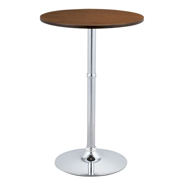 ハイテーブル(ラウンドテーブル/バーテーブル) 直径60×高さ90cm スチールフレーム/木目調 ブラウン【代引不可】