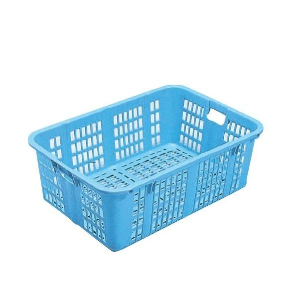 〔5個セット〕プラスケット/網目ボックス 〔No.1100 金具付き〕 ブルー スタッキング金具使用時:段積み可【代引不可】