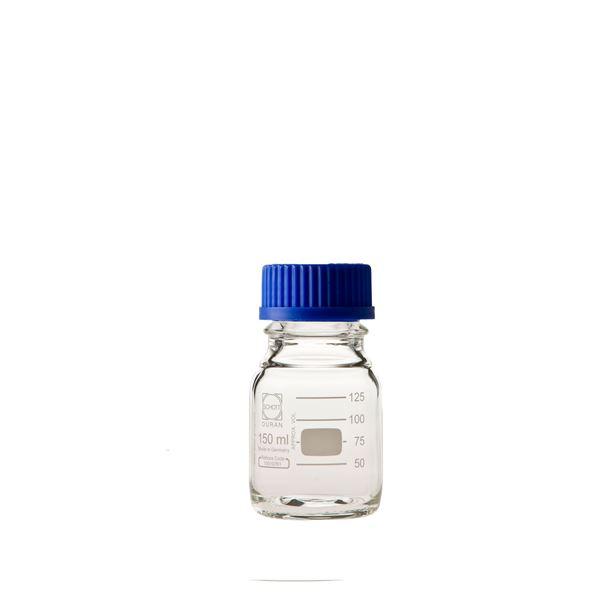 〔柴田科学〕ねじ口びん(メジュームびん) 青キャップ付 150mL〔10個〕【代引不可】