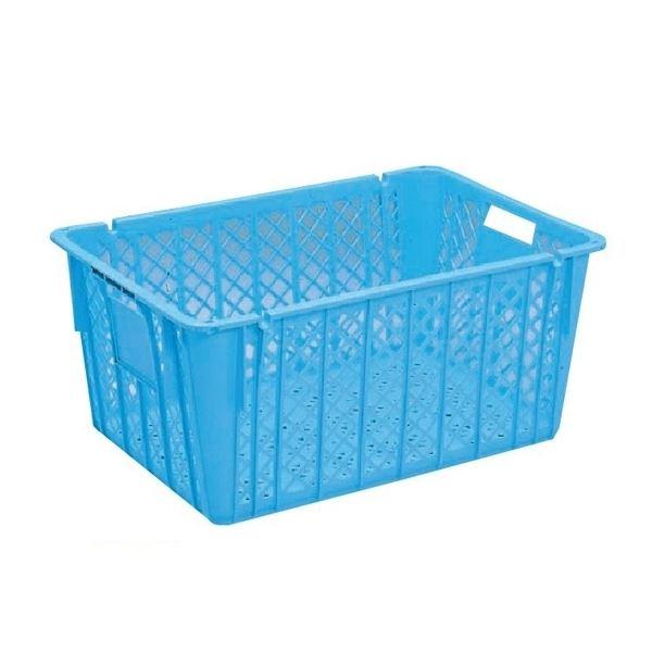 〔5個セット〕プラスケット/網目ボックス 〔No.1300 金具付き〕 ブルー スタッキング金具使用時:段積み可【代引不可】