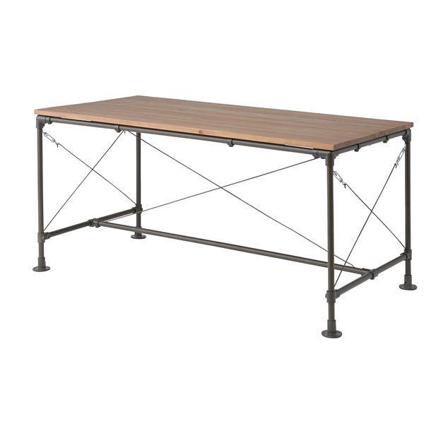 【送料無料】天然木ダイニングテーブル/リビングテーブル 〔幅154cm〕 スチールフレーム 木目調 WPS-341【代引不可】
