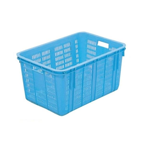 〔3個セット〕プラスケット/網目ボックス 〔No.1500 金具付き〕 ブルー スタッキング金具使用時:段積み可【代引不可】