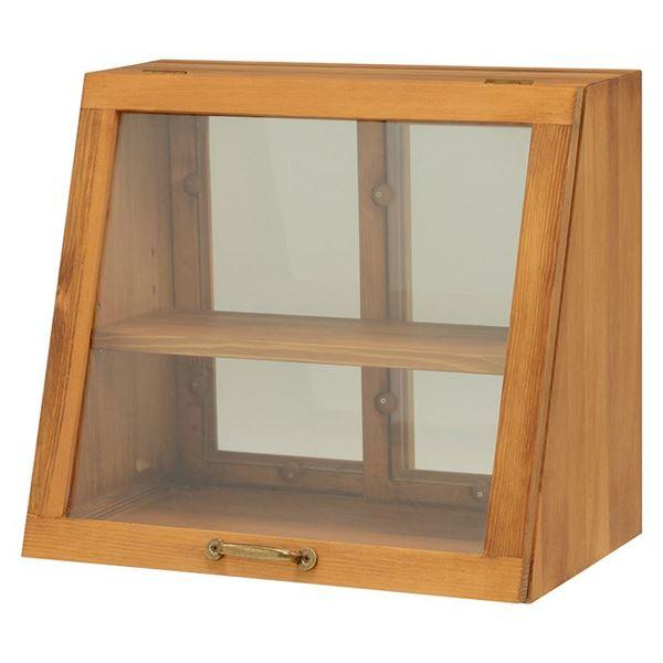 【送料無料】カウンター上ガラスケース(キッチン収納/スパイスラック) 木製 幅40cm×高さ35cm ナチュラル 取っ手/引き戸付き【代引不可】