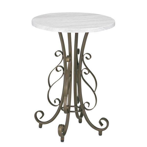 サイドテーブル(ラウンドテーブル) 直径40cm スチールフレーム 木目調 アジャスター付き【代引不可】