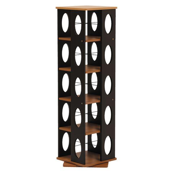 【送料無料】回転ラック(本棚/ブックシェルフ) 5段 高さ120cm 大容量 スリム ブラウン 〔本収納/CD収納〕【代引不可】