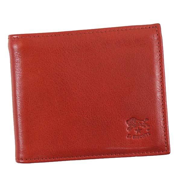【送料無料】IL BISONTE(イルビゾンテ) 二つ折り財布(小銭入れ付) C0817 245 RUBY RED【代引不可】