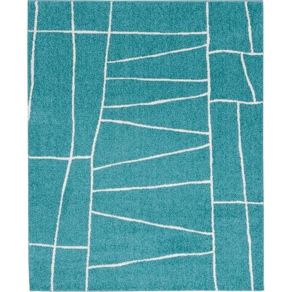 【送料無料】ラグマット カーペット 長方形 ホットカーペット対応 日本製 『ジオーニ』 ターコイズ 130×190cm 【代引不可】
