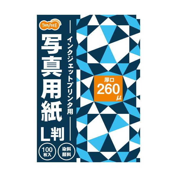 (まとめ) TANOSEE インクジェットプリンタ用写真用紙 厚口 L判 1冊(100枚) 〔×30セット〕【代引不可】【北海道・沖縄・離島配送不可】