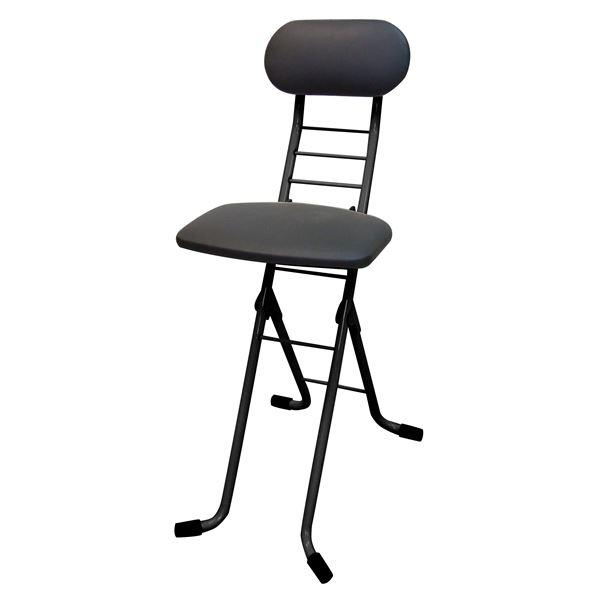 折りたたみ椅子 〔ブラック×ブラック〕 幅35cm 日本製 スチールパイプ 『ワーキングチェアジョイ』【代引不可】【北海道・沖縄・離島配送不可】