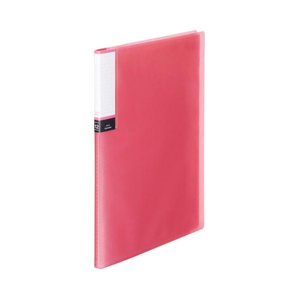 (まとめ) TANOSEE クリアブック(透明表紙) A4タテ 12ポケット 背幅8mm ピンク 1セット(10冊) 〔×10セット〕【代引不可】