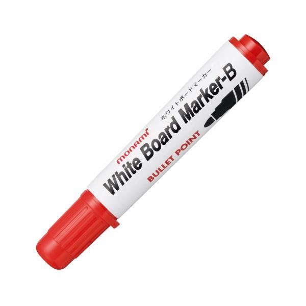 筆記具 ホワイトボードマーカー 中綿タイプ (まとめ) モナミ ホワイトボードマーカーB 丸芯 赤 10503 1本 〔×100セット〕【代引不可】