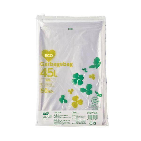 (まとめ)TANOSEE ポリエチレン収集袋 透明 45L 50枚入×15パック〔×3セット〕【代引不可】【北海道・沖縄・離島配送不可】