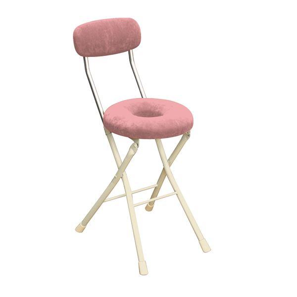 【送料無料】円座 折りたたみ椅子 〔4脚セット ピンク×ミルキーホワイト〕 幅33cm 日本製 スチール 『スイーツチェア ドーナツ』【代引不可】