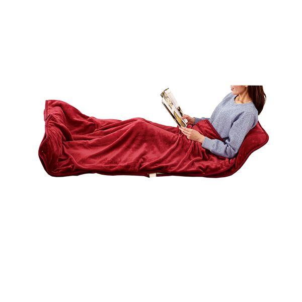 【送料無料】寝袋風マット/寝具 〔ワイン〕 洗える 日本製 ダニ対策 室温センサー 切忘れ防止タイマー付 『あったか寝ころんぼマット』【代引不可】