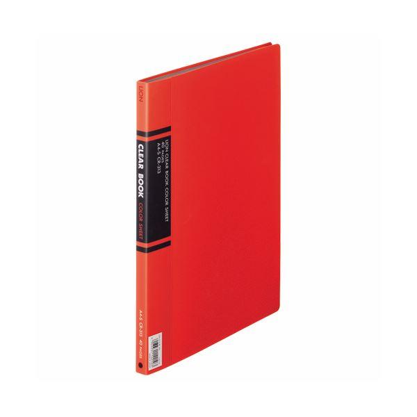 (まとめ) ライオン事務器 クリアーブック A4タテ20ポケット 背幅14mm 赤 カラー台紙付 CR-313 1冊 〔×10セット〕【代引不可】