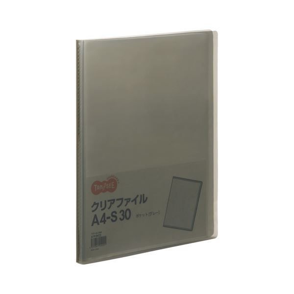 (まとめ) TANOSEE クリアファイル A4タテ30ポケット 背幅17mm グレー 1セット(10冊) 〔×10セット〕【代引不可】【北海道・沖縄・離島配送不可】