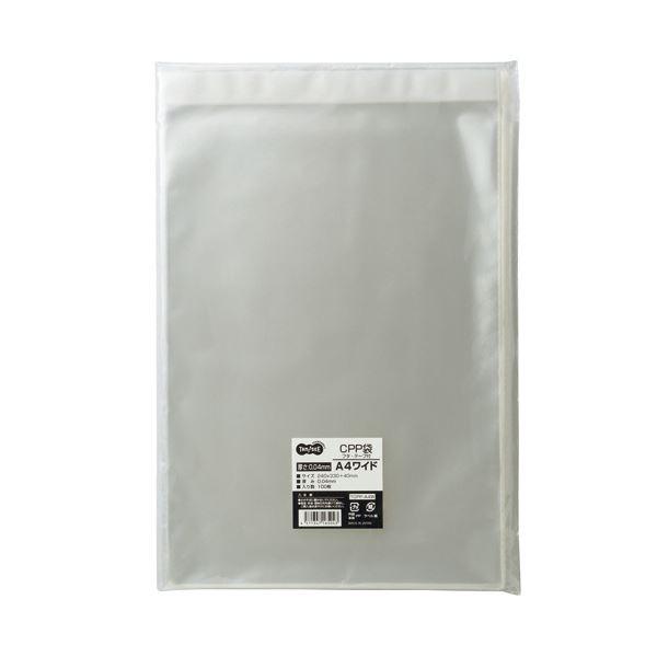 (まとめ)TANOSEE CPP袋 A4ワイド用フタ・テープ付 240×330+40mm 100枚入×5パック〔×3セット〕【代引不可】