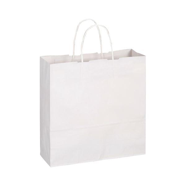 手提袋 ヨコ320×タテ320×マチ幅115mm (まとめ) 1パック(50枚) 白無地 〔×10セット〕【代引不可】【北海道・沖縄・離島配送不可】 丸紐 TANOSEE 中