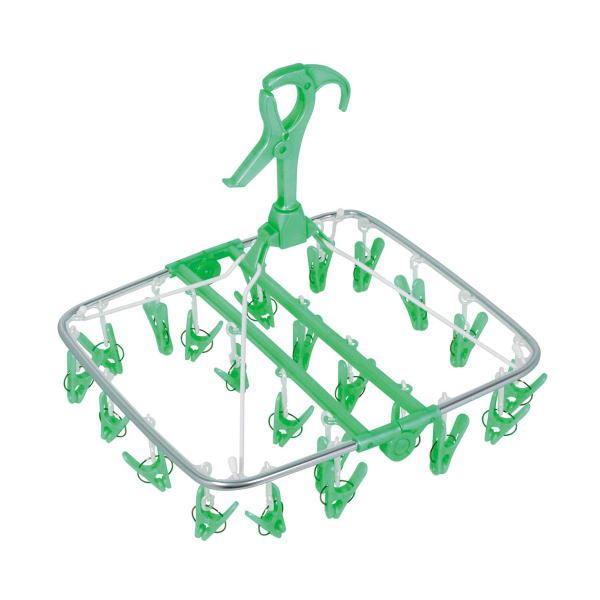 (まとめ)洗濯ハンガー アルモア スマート 角ハンガー ピンチ24個付 グリーン (ピンチハンガー) 〔20個セット〕【代引不可】【北海道・沖縄・離島配送不可】
