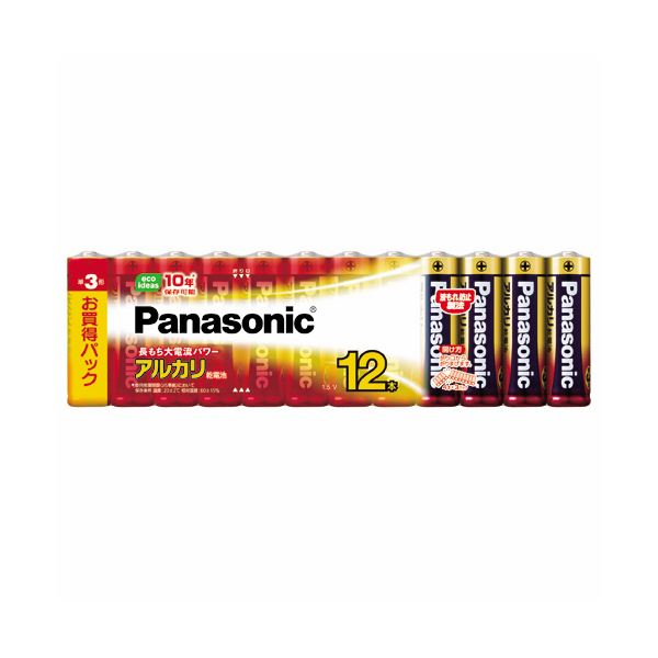 (まとめ) パナソニック アルカリ乾電池 単3形LR6XJ/12SW 1パック(12本) 〔×10セット〕【代引不可】【北海道・沖縄・離島配送不可】