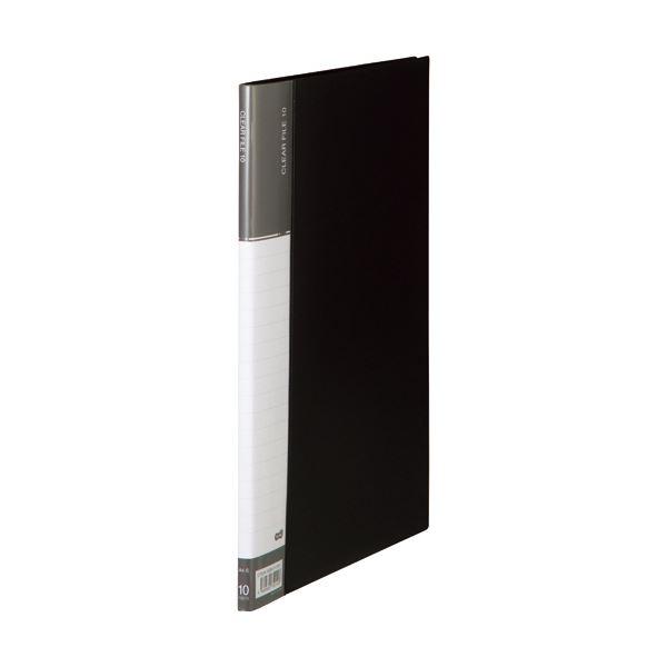 (まとめ) TANOSEEクリヤーファイル(台紙入) A4タテ 10ポケット 背幅11mm ダークグレー 1セット(10冊) 〔×10セット〕【代引不可】