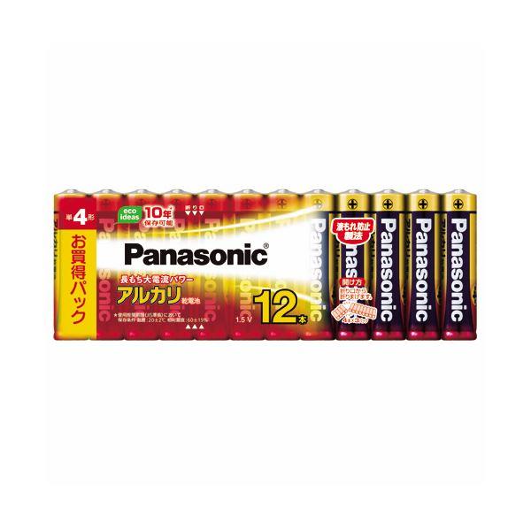 (まとめ) パナソニック アルカリ乾電池 単4形LR03XJ/12SW 1パック(12本) 〔×10セット〕【代引不可】【北海道・沖縄・離島配送不可】