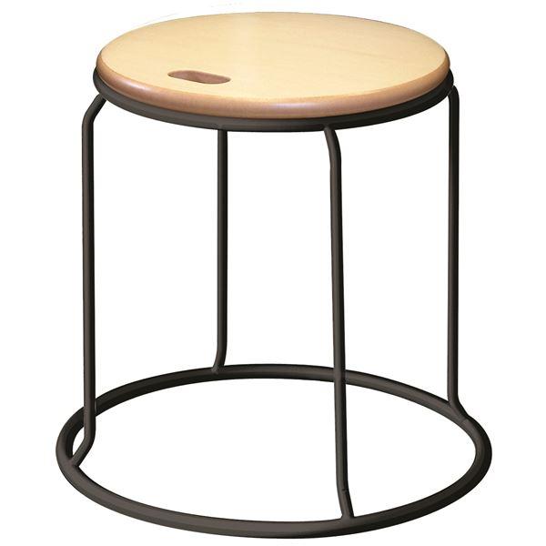 【送料無料】北欧風 スツール/丸椅子 〔同色5脚セット ナチュラル×ブラック〕 幅415mm スチール 『ウッド リンクスツール』【代引不可】